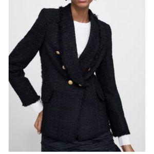 Zara woman tweed black blazer size M